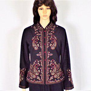 Silk-blend light jacket size M embroidered